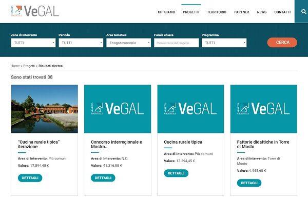 Sito web Vegal con catalogo progetti
